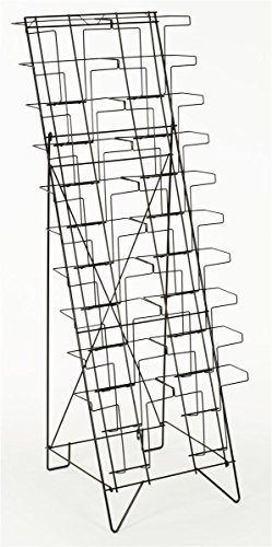 displays2go tiered black wire magazine rack  free standing
